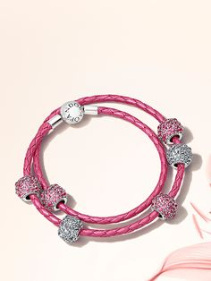 With its vibrant pink hue and metallic finish, this stylish and feminine leather bracelet is the ideal carrier for your charms during the summer season. Will you be adding it to your wish list? #PANDORA #PANDORAbracelet #PANDORAcharm #SummerCollection16