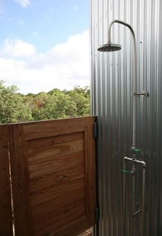 galvanized tin in shower | outdoor shower. Simplistic with the corrugated metal and galvanized ...