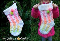 Dreamy Christmas Stocking - Free Crochet Pattern + Tutorial (My hobby is crochet) Crochet Christmas Stocking Pattern, Holiday Crochet, Sewing Tutorials, Sewing Projects, Easy Crochet Projects, Crochet Ideas, Free Crochet, Learn Crochet, Crochet 101