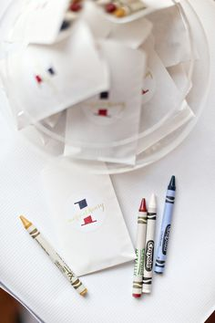 French-themed 1st birthday, crayon favors   100 Layer Cakelet