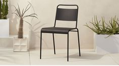 """$70  Width: 17"""" Depth: 21.5"""" Height: 30.75""""  lucinda black stacking chair 