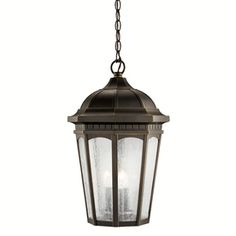 Kichler Lighting Courtyard 21.5-In Rubbed Bronze Outdoor Pendant Light