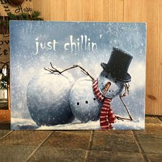 Just Chillin' Wood Sign Wall Decor Shelf Decor snowman image 0 Christmas Paintings On Canvas, Christmas Canvas, Christmas Wood, Christmas Signs, Christmas Projects, Winter Christmas, Snowmen Paintings, Christmas Snowman, Snowman Decorations