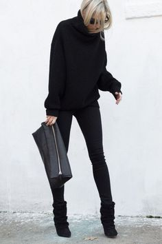 Aritzia PRADISE MINE HIGH-RISE JEGGING O/D BLACK (similar here)| Aritzia Wilfred Montpellier Sweater Black | Aritzia Six Eleven Huggable Clutch Black (similar here) | Isabel Marant Andrew Suede and Leather Ankle Boots Black: