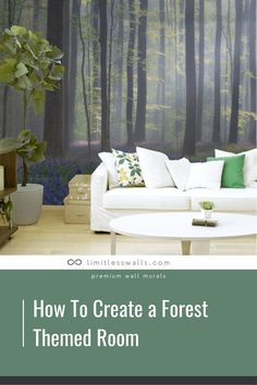 Want to give your child's room a more natural feel? Check out this article on how to create a forest themed room! With a few changes you can easily create a serene and calm environment. | Limitless Walls - Premium Wall Murals Childrens Wall Murals, Removable Wall Murals, Outdoor Sofa, Outdoor Decor, Mural Ideas, Peaceful Places, Child's Room, Nature Images, Room Themes