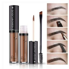 1PC Professional Eye Brow Set Tattoo Long Lasting Pigments Black Brown Waterproof Eyebrow Liquid Makeup With Brush Makeup Set