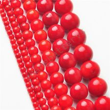 """Natural Round Red Coral Gemstone Loose Spacer Beads 16"""" Strand 2 3 5 6 8 9 mm"""