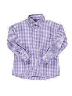 Violet Check Cotton Long-Sleeve Woven Button-Down