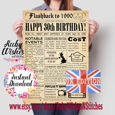 UK British United Kingdom Last Minute Birthday Gift Instant Download 70th Birthday 1951 Newspaper Major Events Back in the Day Printable