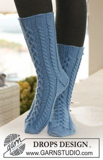 Socks & Slippers - Free knitting patterns and crochet patterns by DROPS Design Crochet Socks Pattern, Knitting Patterns Free, Free Knitting, Free Pattern, Crochet Patterns, Cable Knit Socks, Knitting Socks, Drops Design, Braid Patterns