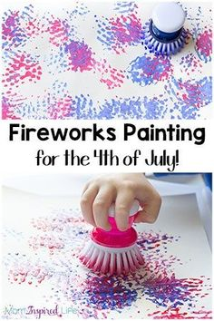 Easy Painting Fireworks Craft with a Dish Brush - - This fireworks craft is super simple. Which makes it perfect for of July week. Keep the kids busy with a fireworks painting activity they'll love! New Year's Crafts, Summer Crafts, Holiday Crafts, Neon Crafts, Toddler Art, Toddler Crafts, Preschool Crafts, Kids Crafts, Early Education