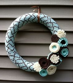 Spring Wreath - Modern Wreath Wrapped in Light Blue & Brown Patterned fabric Decorated w/ Felt Flowers.   Blue Wreath - Felt Flower Wreath