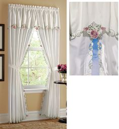 Rose Embroidered Drapes and Valance