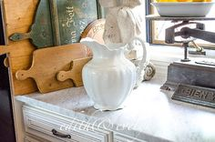 Lg Antique English Ironstone Pitcher England by edithandevelyn