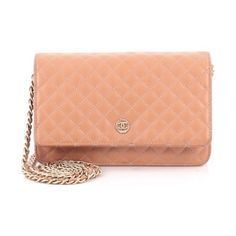 Pre-Owned Chanel Wallet on Chain Quilted Goatskin (87.535 RUB) ❤ liked on Polyvore featuring bags, wallets, peach, red wallet, quilted wallet, snap closure wallet, chanel crossbody and hologram wallet