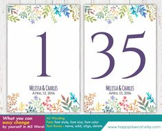 DiY Printable Table Number Card Template  Instant by HappyBlueCat
