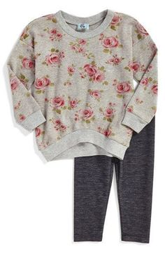 Pippa & Julie Floral Print Sweatshirt & Leggings (Baby Girls) (Online Only) available at #Nordstrom #babygirlsweatshirt #babygirlleggings #babygirlsweatshirts
