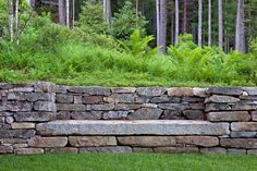 I like the way this stone bench has been built into a retaining wall. - I like the way this stone bench has been built into a retaining wall. Landscape Design, Garden Design, Contemporary Landscape, Landscape Walls, House Landscape, Watercolor Landscape, Landscape Paintings, Stone Retaining Wall, Garden Retaining Walls