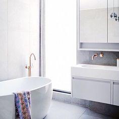 Grey walls grey floors  via @bathroomcollective #homeinspo #bathroomdesign #bathroom #buildmydreamhome