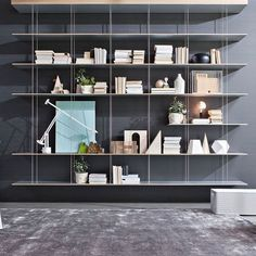 Wall-mounted shelf / contemporary / MDF / stainless steel GRADUATE Molteni & C