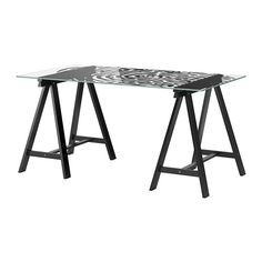 Black Glass Desk Ikea – Home Office Furniture Images Check more at www. Ikea Home Office, Best Home Office Desk, Home Office Furniture, Modern Furniture, Furniture Design, Black Glass Desk, Glass Top Desk, Glass Table Top Replacement, Glass Table Set