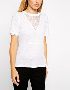 Enlarge Whistles Linen T-Shirt with Lace Insert