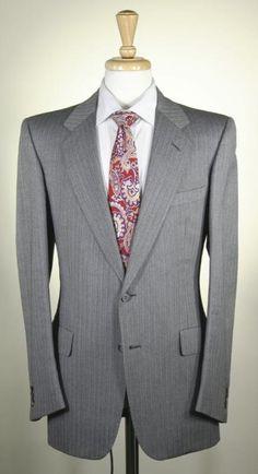 *GIEVES & HAWKES* Savile Row Bespoke d'Avenza Gray Striped Herringbone Suit 42R | eBay