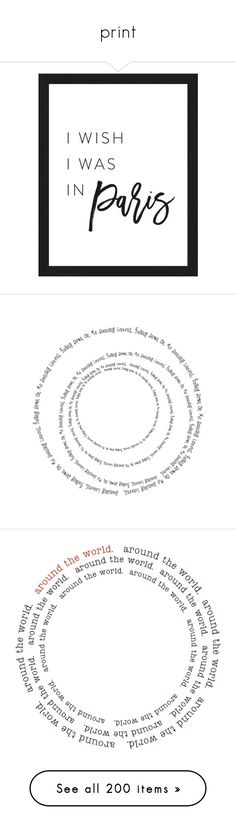 """print"" by qroxp ❤ liked on Polyvore featuring home, home decor, wall art, black and white home decor, paris home decor, black and white home accessories, black white home decor, text, words and circles"