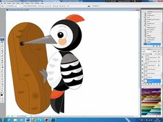 Illustrating drawing painting - cartoon woodpecker Jak namalować dzięcioła