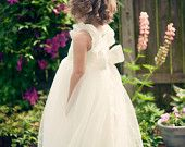 Crystal Rose Front, Scooped Back Dupioni Silk Tutu dress with full gorgeous bow, decadent flower girl gown