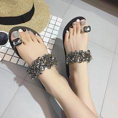 AVVVXBW 2017 Summer Women's Slippers Fashion Diamond Flats Flip Flops Casual Beach Slide Flats Sandals Women's Shoes Mujers