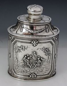 German silver antique tea caddy