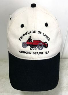 Vtg Embroidered Ormond Beach Florida Hat Historical Society Auto Race Car  Beach  5d35fe8062ae