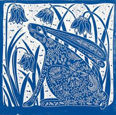 linocut/Hare and Bluebells/blue/original art/printmaking/bluebells/flowers/spring/hare/rabbit/cobalt/folklore/country decor/rustic interior