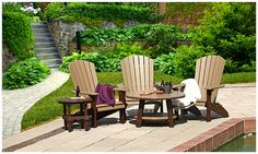 Handcrafted poly & pressure treated pine outdoor furniture. http://www.carriagehousefurnishings.com/