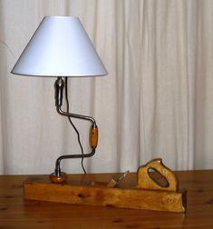 lampe rabot en chene et villebrequin