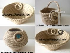 Discover thousands of images about Coiled rope bowls with fancy handles, rope art by Andrea Jute Crafts, Handmade Crafts, Diy And Crafts, Sisal, Pinterest Diy Crafts, Cute Furniture, Rope Art, Rope Basket, Decoration Table