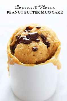 Coconut Flour Peanut Butter Mug Cake can be made in 5 minutes, is gluten-free, low-carb, has no refined sugar and includes a paleo option. Healthy dessert in a flash!