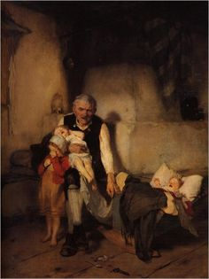 """Grandfather and Children"" -- by Nikolaos Gysis [poor baby-sitter is having a rough time]"