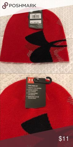 3f2a043be87 NWT Under Armour Boys COLDGEAR Beanie NWT red Under Armour COLDGEAR hat for  boys. Red with black and gray design. Hat does have nice stretch to it.