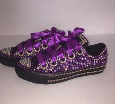 Bedazzled bling all star chuck taylors converse. black on black chucks, purple; rhinestone and pearl chucks.