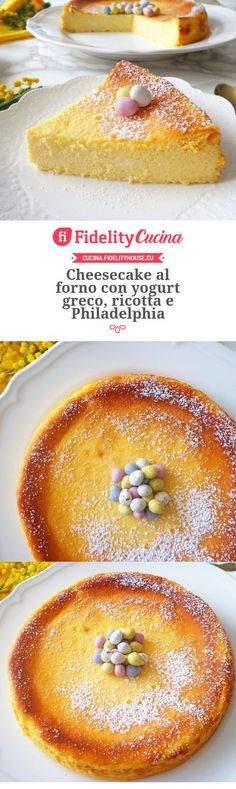 Baked cheesecake with Greek yogurt, ricotta and Philadelphia- Cheesecake al forno con yogurt greco, ricotta e Philadelphia Baked cheesecake with Greek yogurt, ricotta and Philadelphia - Cake Recipes, Snack Recipes, Dessert Recipes, Desserts, Yogurt Recipes, Greek Recipes, Torte Cake, No Bake Cheesecake, Healthy Cake