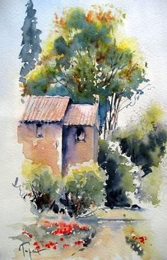 Divers - Jean Claude Papeix - Picasa Albums Web - My Pin Watercolor Scenery, Watercolor Landscape Paintings, Watercolor Pictures, Easy Watercolor, Landscape Art, Watercolor Flowers, Water Colour Landscape, Watercolor Sketch, Paintings Tumblr