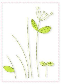 Blumenstiele Freebie -  Blütenstiele mit Blattapplikationen und lockeren Dolden, sie passen in den 13×18-Rahmen und sind die perfekte Ergänzung zu unserer Filzblumendatei. Die einzelnen Blüten können nämlich nach dem Sticken der Blätter und Stiele locker aufgenäht werden oder mit Knöpfen befestigt werden und Ihr habt so einen wunderbaren Blütenstrauß.