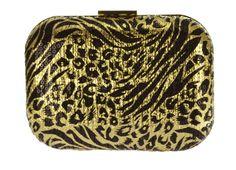 Clutch Dourada, bolsa de mão dourado e preto, detalhe na estampa traballhada em dourado com paetê preto. Fecho dourado e alça de corrente dourada removível. Clutch ideal para dar aquele toque especial no seu look!