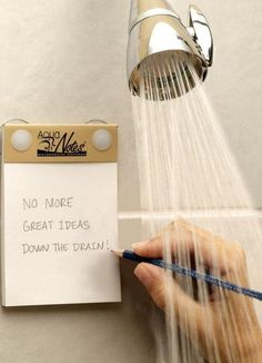 AquaNotes Waterproof Notepad, by AquaNotes ~ great ideas for those things that always come to you in the shower!