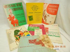 PIANO: CHRISTMAS MUSIC SONGBOOKS! MIXED LOT-7 BOOKS! VARIOUS ERAS! USED! AS IS!