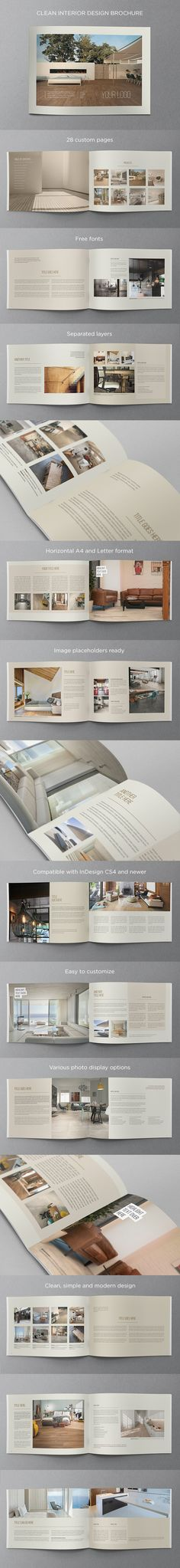 Clean Interior Design Brochure. Download here: http://graphicriver.net/item/clean-interior-design-brochure/11531896?ref=abradesign #design #brochure