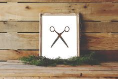 Scissors Print, Wood Wall Art, Hair Stylists Art, Rustic Wall Decor, Instant Download, Wooden Scissors, Wood Print, Salon Decor, Salon Art