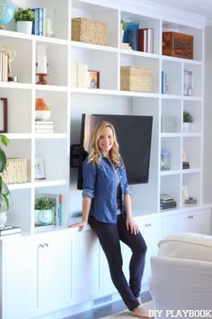 It's been a long time coming, but Casey finally reveals her family room built-ins. Come take a look at this functional space.